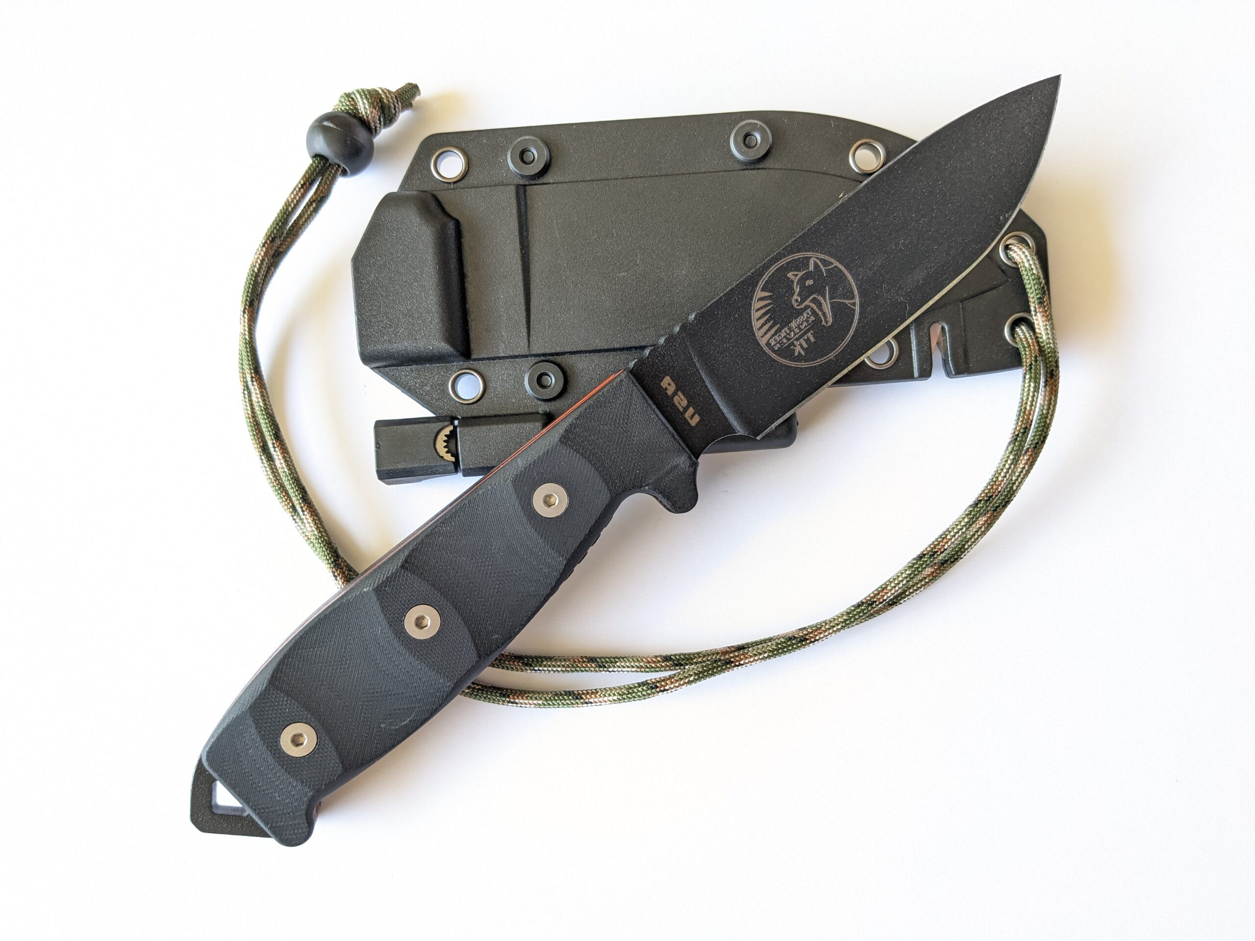Fixed Blade Survival Knife, Micrata Handle & Orange G10 Inlays + Sheath